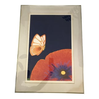 1970's Multi-Color Floral/Butterfly Pencil Signed Lithograph For Sale