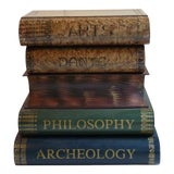 Image of Tole Book Stack Storage Table For Sale