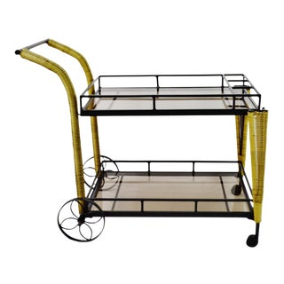 Smoked Glass Faux Wicker and Metal Beverage Tea Cart For Sale