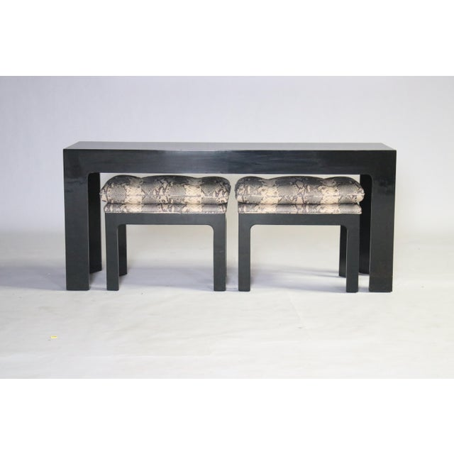 Parson Style Black Lacquered Console Table and Benches - Image 3 of 11