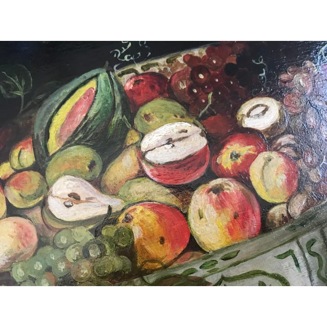 French Porcelain Bowl Of Fruit With Butterflies Framed Still Life