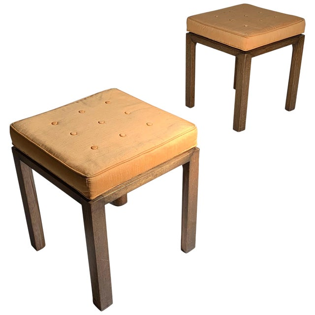 Pair of Vintage Midcentury Harvey Probber Parsons Cube Stools For Sale