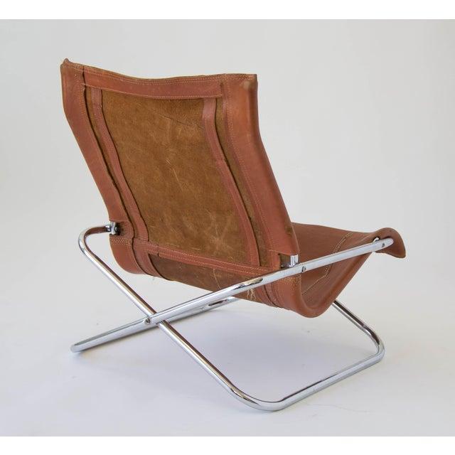 Sueki Uchida Leather Sling Chair For Sale - Image 5 of 9