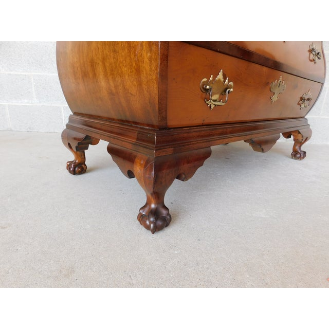 Metal Vintage Chippendale Bombe Style Mahogany Chest 39w For Sale - Image 7 of 13