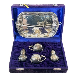 4 Piece Silver Condiment Set With Tray For Sale
