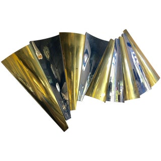 Curtis Jere Brass and Chrome Wall Sculpture, 1980s For Sale