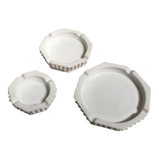 Hobnail Milk Glass Ashtrays - Set of 3 For Sale