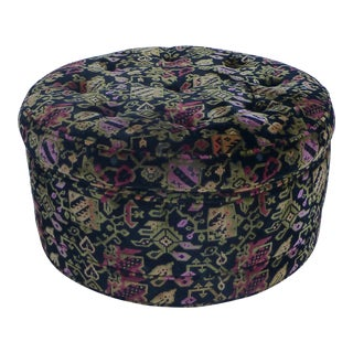 1970's Vintage Oversized Floral Ottoman For Sale