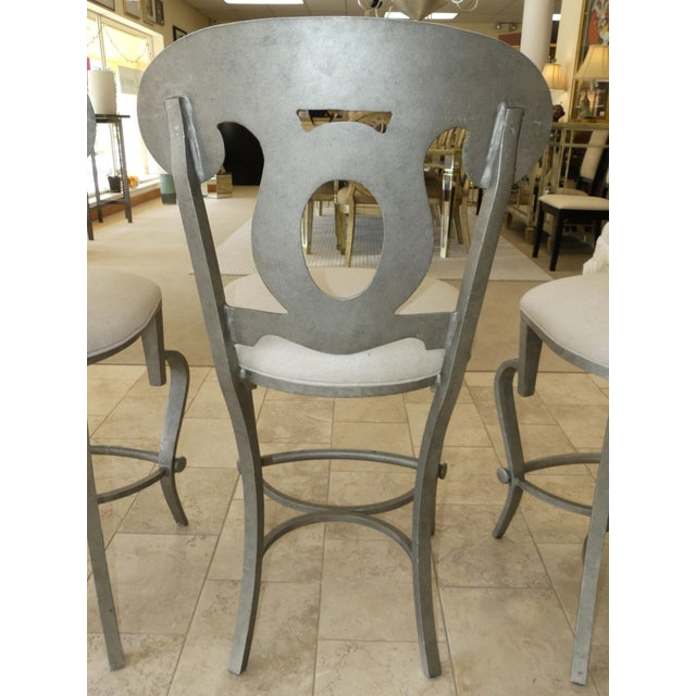 1990s 1990s Modern Biedermeier Style Metal Counter Stools - Set of 3 For Sale - Image 5 of 13