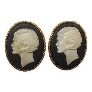 Supersized Faux Vintage Chanel Cameo Ear Clips For Sale