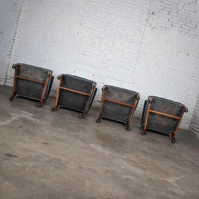 Blue Vinyl Faux Leather Chinese Chippendale Tub Style Rolling Game Chairs Set of Four For Sale - Image 11 of 13