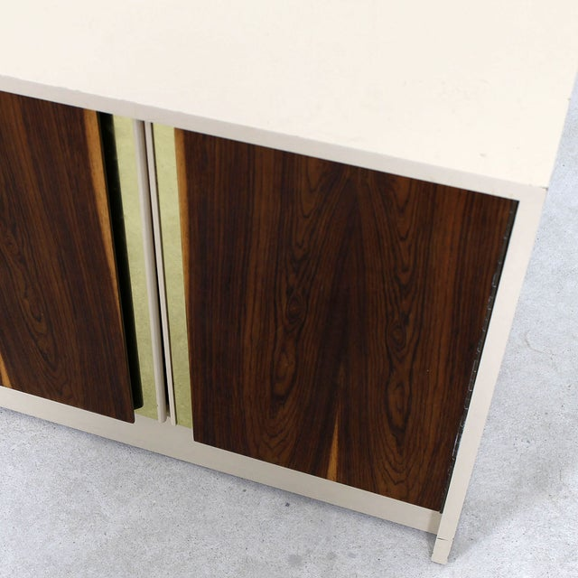 Gold Milo Baughman Bar / Media Cabinet With Rosewood Doors For Sale - Image 8 of 10