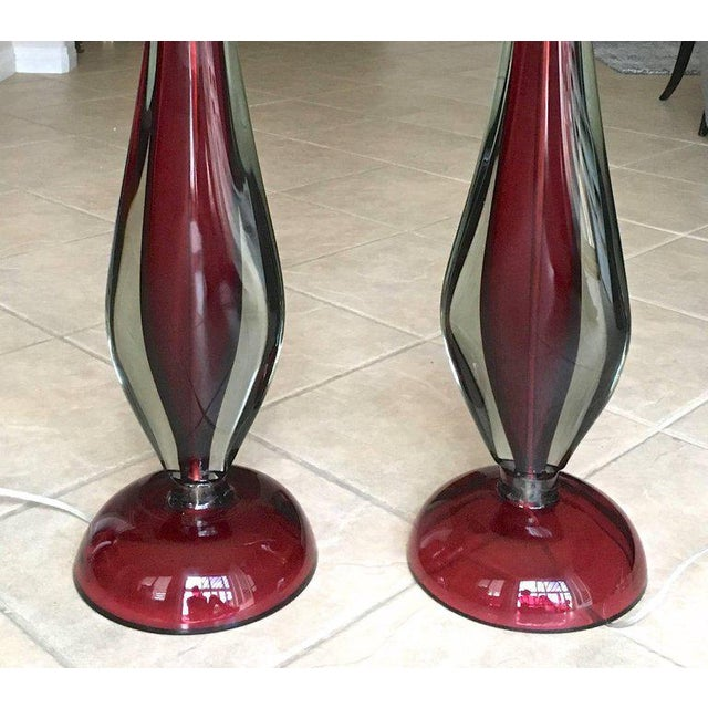 Large Flavio Poli Seguso Sommerso Murano Red Glass Table Lamps - a Pair For Sale - Image 10 of 13