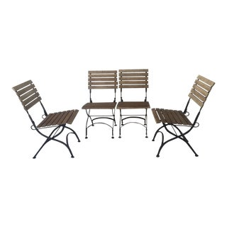 Handcrafted French Outdoor Folding Chairs - Set of 4
