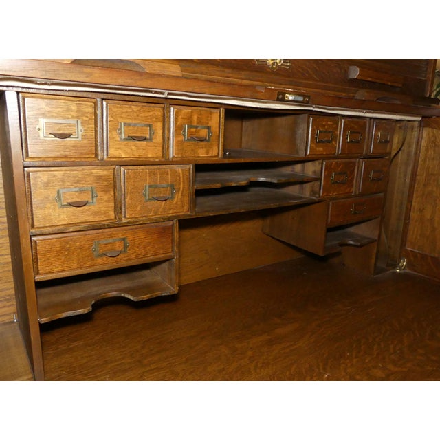 1950s Solid Oak Rolltop Desk With Roll Front Hutch For Sale - Image 5 of 12
