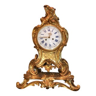 Mid 19th Century Antique f.f. F. Barbedienne Louis XV Mantle Clock For Sale