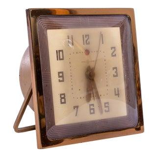 Art Deco Brass Desk Clock For Sale
