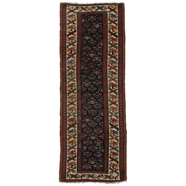 19th Century Persian Kazak Tribal Hallway Runner - 3′4″ × 8′10″ For Sale - Image 9 of 9