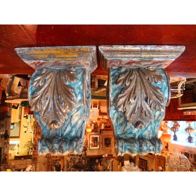 19th Century Pair of French Painted Brackets For Sale - Image 11 of 11