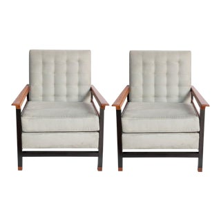 Brazilian Mid-Century Modern Armchairs in Jacaranda and Aluminum - a Pair For Sale