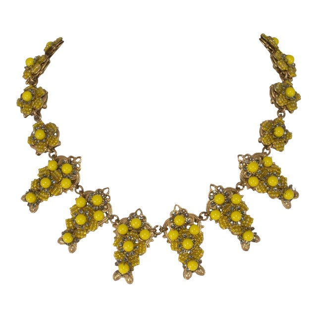 Stanley Hagler by Mark Mercy Necklace Earrings Set Vintage Yellow Beads Rhinestones For Sale