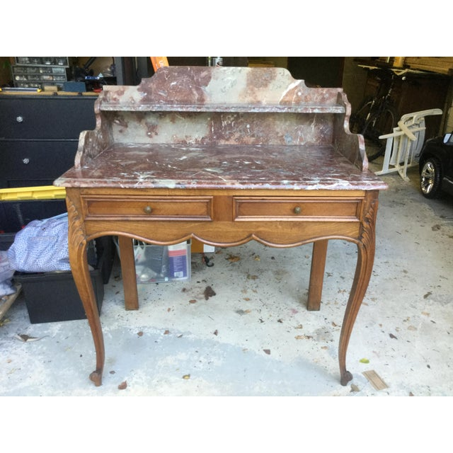 1920s French Walnut & Marble Vanity For Sale - Image 10 of 10