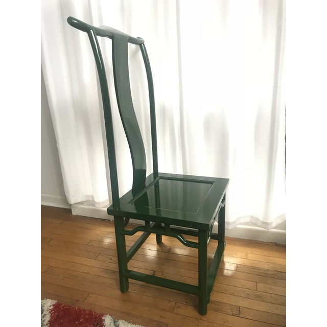 Asian Chinoiserie Ming Style Green Lacquered Chairs - a Pair For Sale - Image 3 of 10