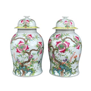 "Stunning Chinese Famille Rose Ginger Jars ,Pair 17.5"" H For Sale"