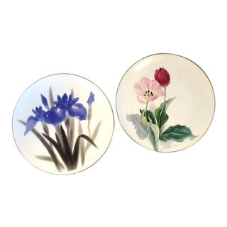 Vintage Artist-Signed Noritake Plates. Hand-Painted Floral