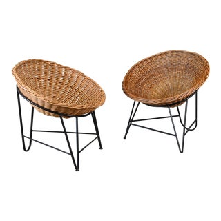 Pair of Rattan Basket Chairs