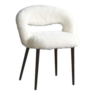 Midcentury Danish Vanity or Dressing Room Chair in Shearling by Frode Holm For Sale