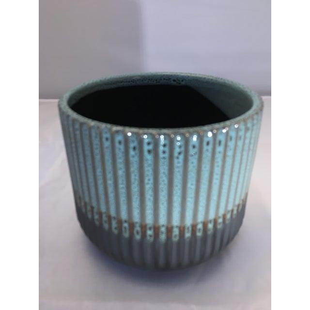 2010s Palma Blue Ceramic Flower Pot For Sale - Image 5 of 7