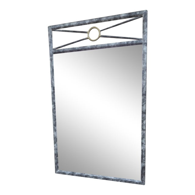 Southwest Inspired Metal Framed Wall Mirror For Sale