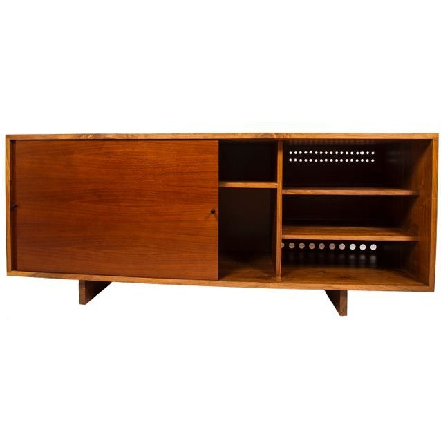 Nakashima Style Solid Walnut Media Cabinet For Sale - Image 9 of 10
