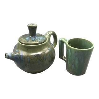 1960s Monterey Jade Tea Pot and Cup - Set of 2 For Sale