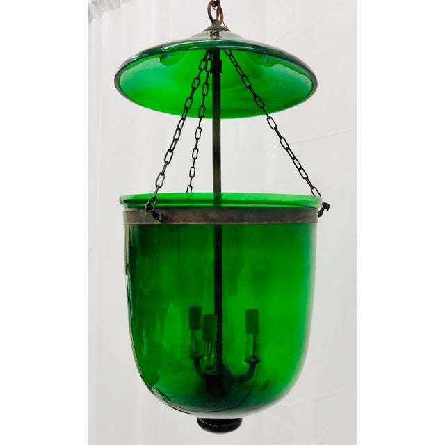 Late 20th Century Traditional Green Glass Bell Jar Pendant For Sale - Image 5 of 13