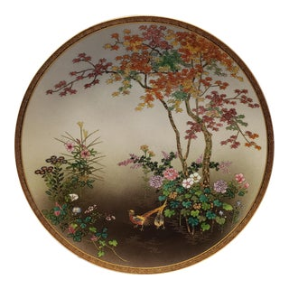 Early 20th Century Japanese Satsuma Porcelain Koshida Suizan Floral/Birds Motif Charger Plate For Sale