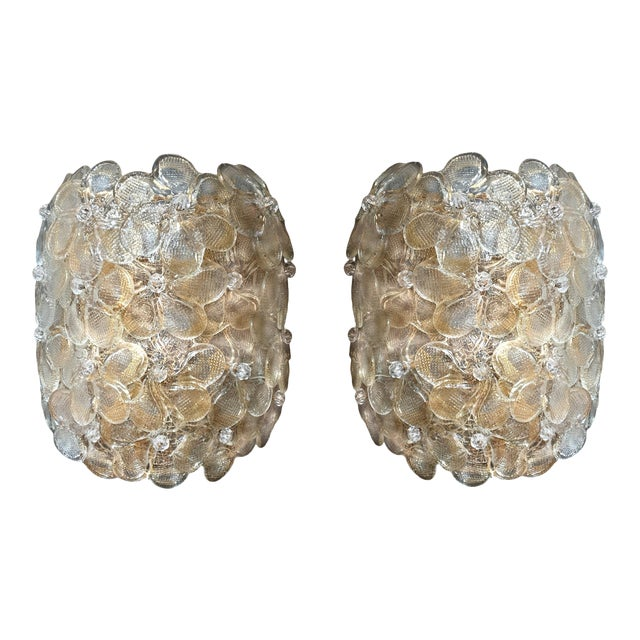 Mid-Century Modern Murano Glass Gold Flower Sconces by Barovier - a Pair For Sale