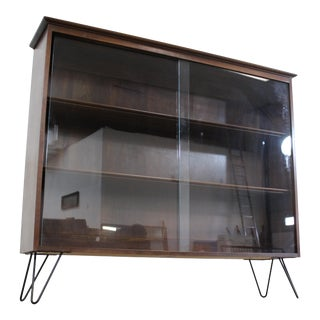Mid Century Danish Modern Bookcase on Hairpin Legs by Willet For Sale