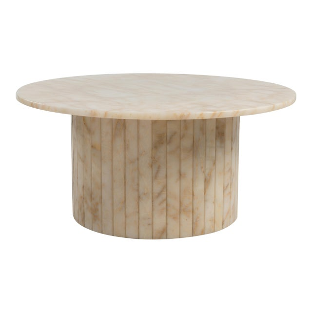 Hollywood Regency Round Alabaster Coffee Table on a Drum Base For Sale