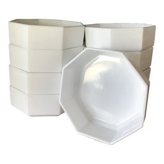 1980s Vintage Octagon White Glass Bowls - Set of 9 For Sale