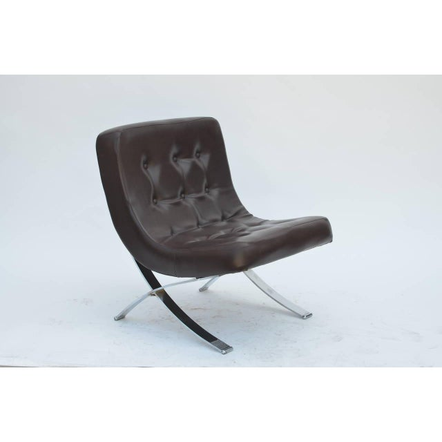 Pair of Chromed Italian 1970s Slipper Chairs For Sale In Los Angeles - Image 6 of 7