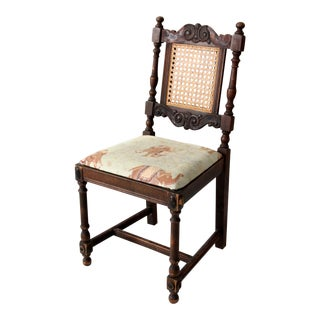 Antique Carved Wood Cane Back Chair