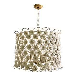 Regina Andrew Boho Chic White Ceramic Alice Flower Chandelier For Sale