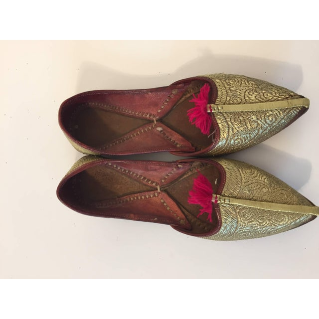 ea4f9421cf34 Handcrafted Leather Turkish Gold Embroidered Shoes For Sale - Image 10 of 10