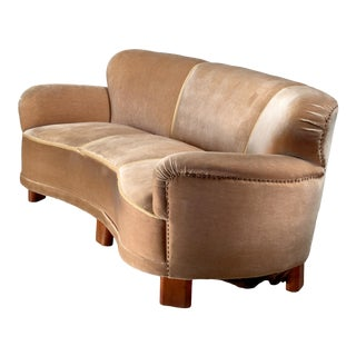 Curved Brown Three-Seater Sofa, Sweden, 1940s For Sale