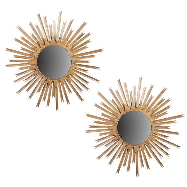 Pair of Large Brass Sunburst Mirrors With Back Lighting Selling Individually For Sale In Washington DC - Image 6 of 6
