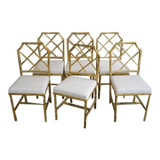 Vintage Mastercraft Dining or Side Chairs in Brass Faux Bamboo - a Set of 6 For Sale