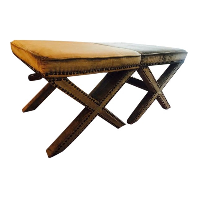 Safavieh Velvet Palmer X Bench, Pair (2 Benches/Stools) For Sale