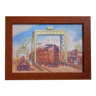 Original Vintage Mid 20th C. Modernist Gouache on Board by Andre Boratko-Industrial Art-Signed For Sale